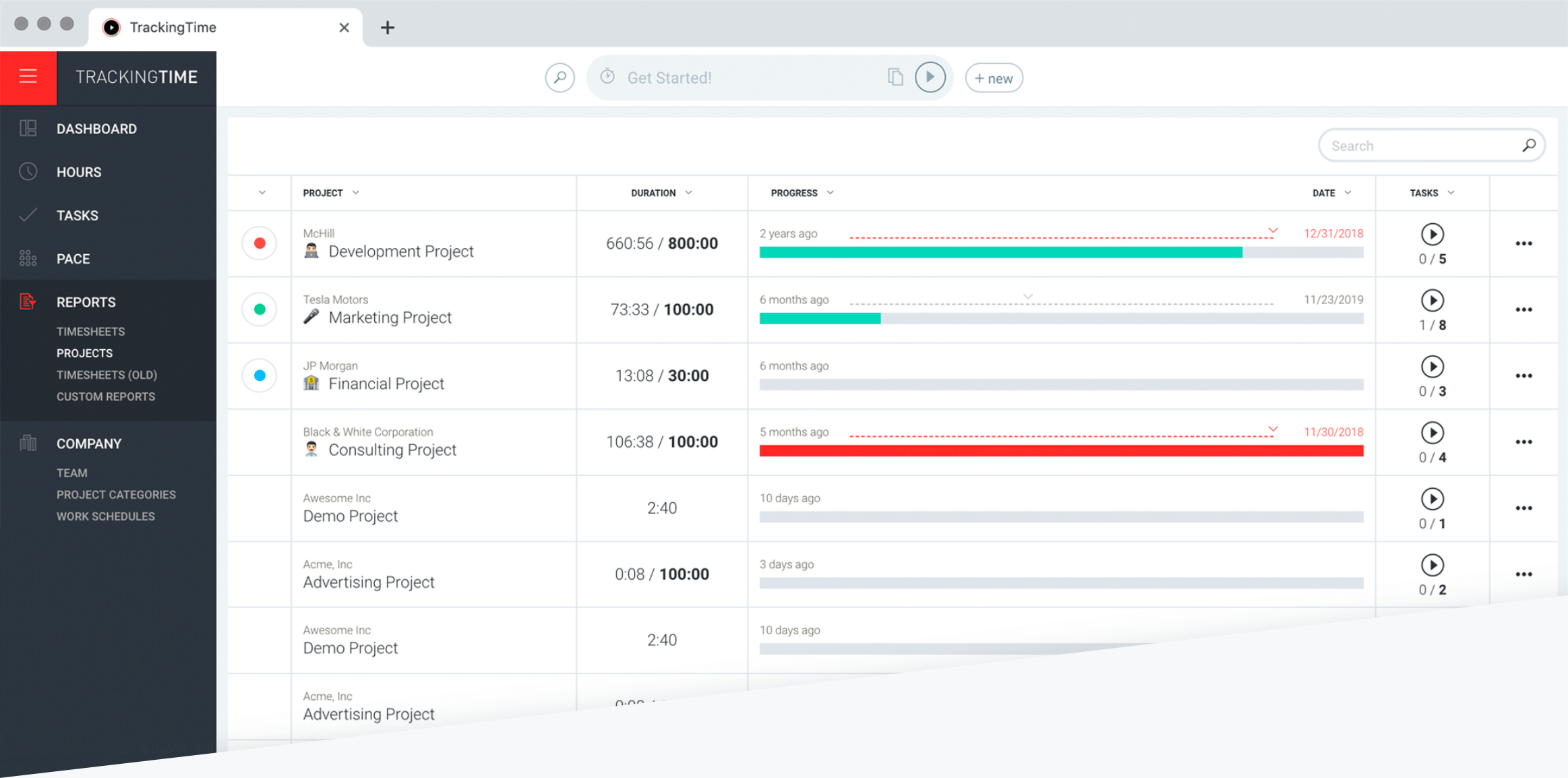 Track clients, projects and tasks
