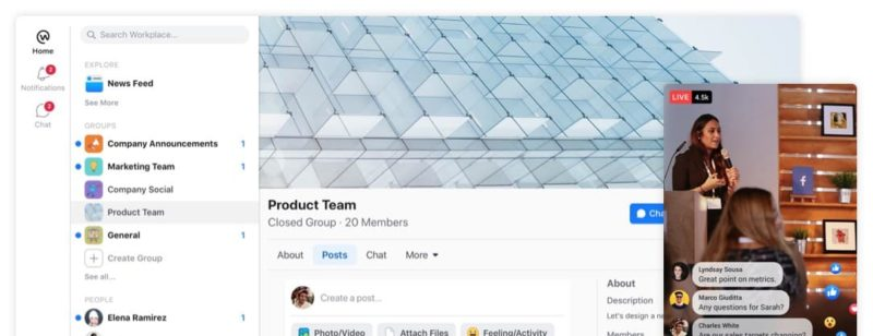 Workplace is a modern social enterprise network for teams and productivity