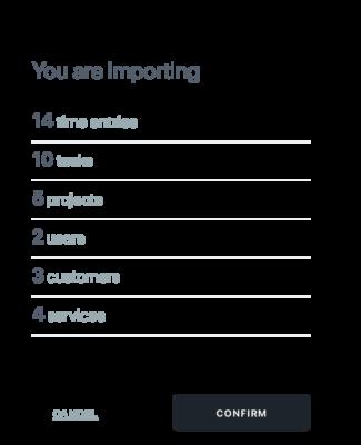 4. Importa las entradas de tiempo