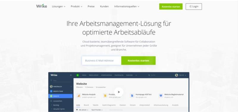 Wrike an online project management software for home office